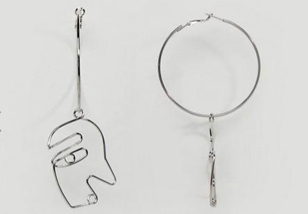 Asos Doodle Face Assymetrical Earrings