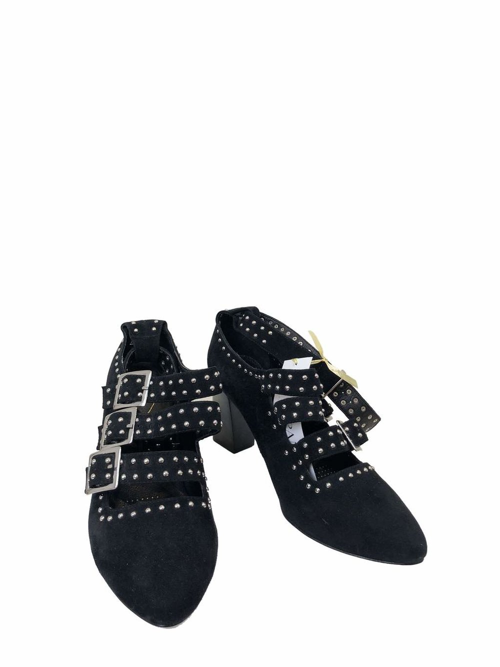 Sargossa black studded heels at timpanys