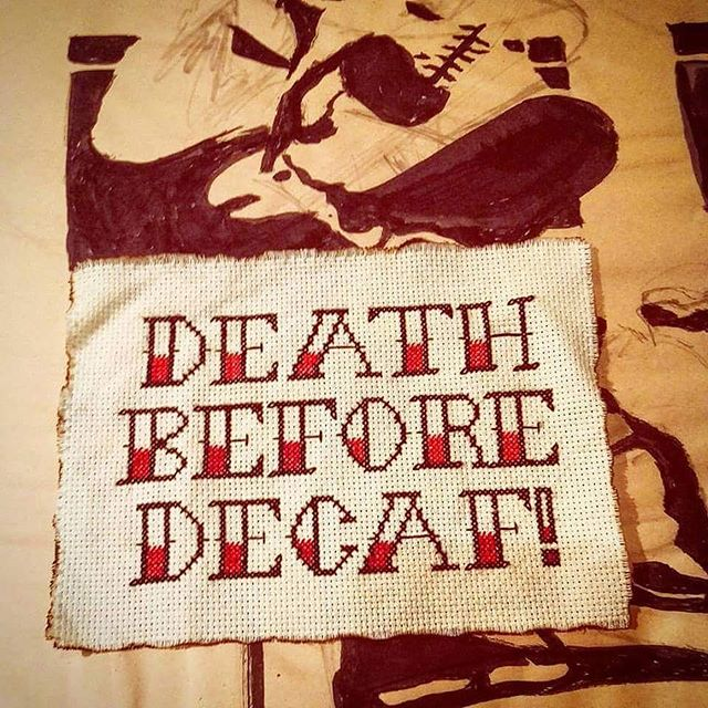An oldie but a goodie. One of my favorite pieces. #millenialCrossStitch - - - - - - - -  #deathbeforedecaf #crossstitch #craftgifts #snarkycrafts #fiberarts #hufflepuff #butfirstcoffee #cofveve #butfirstcofeve #caffiend #crossstitchlove #crossstitcher