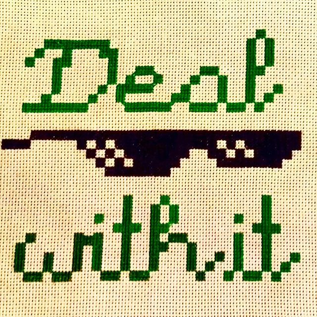 8-Bit cross stitch - - - - - - - - #dealwithit #guysWhoCraft #millenialCrossStitch #8bitart #8bit #crossstitchlove #crossstitcher #crossstitch #meme #memecraft #8bitandart #needlefelted #nerdcraft