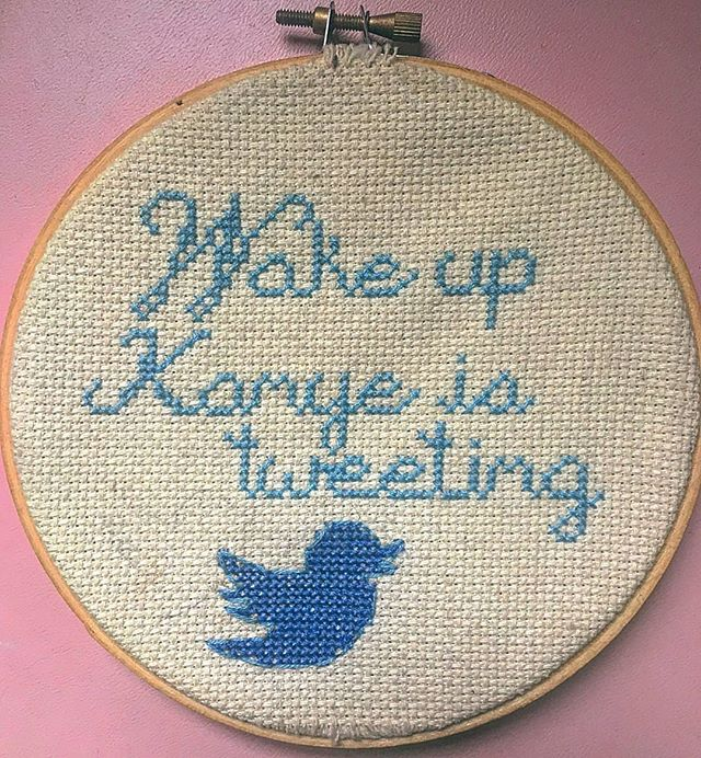A forgotten oldie of mine from a simpler time... . . . . . . . #kanyewest #kanyeistweeting #twitterocracy #culture #fortheculture #kanyememes #kanyewasreplacedbyarobot #twitter #millenialCrossStitch #crossstitchersofinstagram #crossstitch #fiberart #needlepoint #countedcrossstitch #counterculturecrossstitch