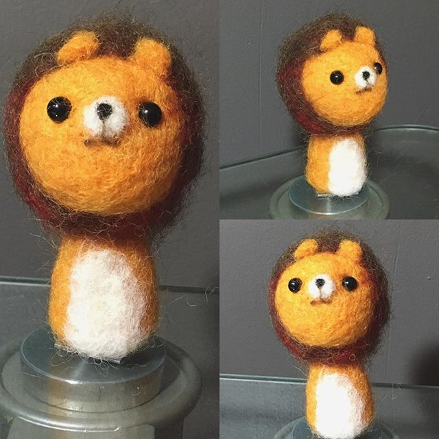 I've been learning #needlefelting. Made this little lion fella. - - - - - - - - #fiberart #needlefelted #needlefelter #needlefeltart #needlefelt #lion #kawaii #adorable #leo #lion #leos #leoseason #leon #kawaiicrafts #kawaiicraft #craftgifts #crafting #craftgifts #guyswhocraft #gryffindor #gryffindorlion