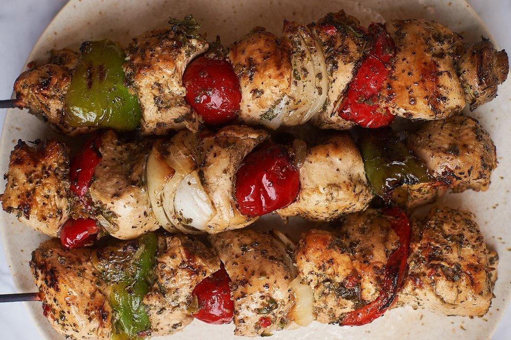 Chicken Kebabs:  our kebabs are our best selling items!  Our chicken kebabs are made with local, USDA Grade-A chicken breast, with jewels of red, yellow and orange bell peppers, mild -cherry peppers, Vidalia onions, and marinated in our secret, and Italian family recipe marinade.  Recommended on the grill with a cold, crisp Sauvignon Blanc.