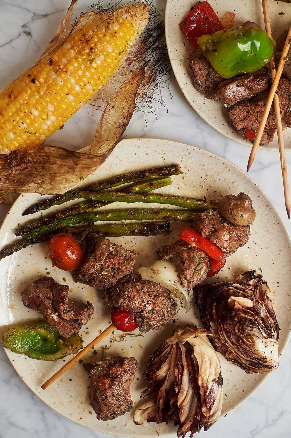 Steak Kebabs: you'll be the king of the grill with these bad boys!  Nebraska-raised, beef lends to rich, succulent pieces of our top sirloin steak, bell peppers, mild -cherry peppers, Vidalia onions, and marinated in our secret Italian family recipe marinade.  Fire up the grill and enjoy these with an earthy, spicy Pinot Noir.
