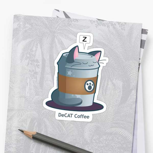 DeCAT Coffee Stickers   on Redbubble  Starting at $2.50