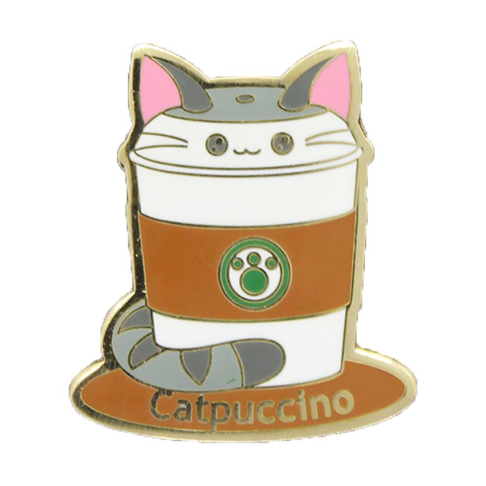catpuccino enamel pin badge cat coffee