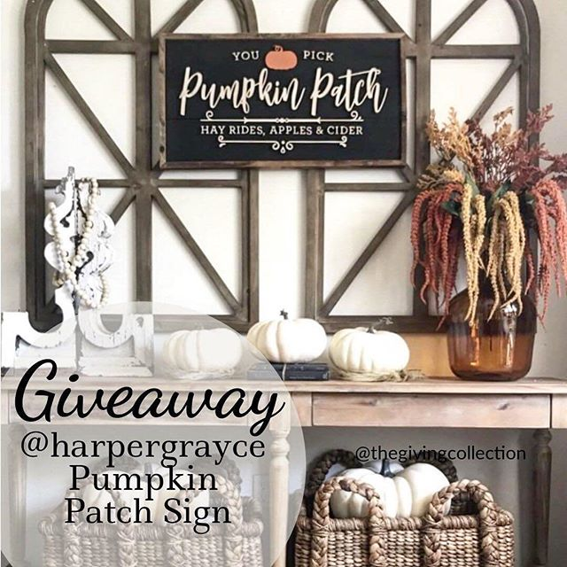 🍁Like this photo and head to 👉🏼@thegivingcollection to enter. It takes just seconds to enter! Make sure you like giveaway photo and FOLLOW everyone they follow! . 🍁Fall is officially upon us and what better way to welcome it then with a @harpergrayce Pumpkin Patch sign giveaway! (sign size is 30x15) . 🍁Giveaway closes Wednesday at 9 pm est. This is not sponsored, endorsed or affiliated with Instagram. Open to anyone in the US 18 years of age or older. Winner must not be private day of giveaway and will be selected within 48 hours of giveaway ending. Winnings will be sent upon proof of a valid ID. . .📷@downsouth8thstreet . . . . . #customsign #customsigns #customsignshop #harpergrayce #fallhomedecor #fallhome #fallsigns #fallsign #falldecor #pumpkindecor #pumpkindecorating #farmhousestyle #farmhousedecorating #farmhousehomedecor