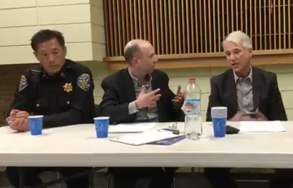 District Attorney George Gascon and police Captain Robert Yick discuss the property crime epidemic in San Francisco with Stop Crime SF vice president Joel Engardio