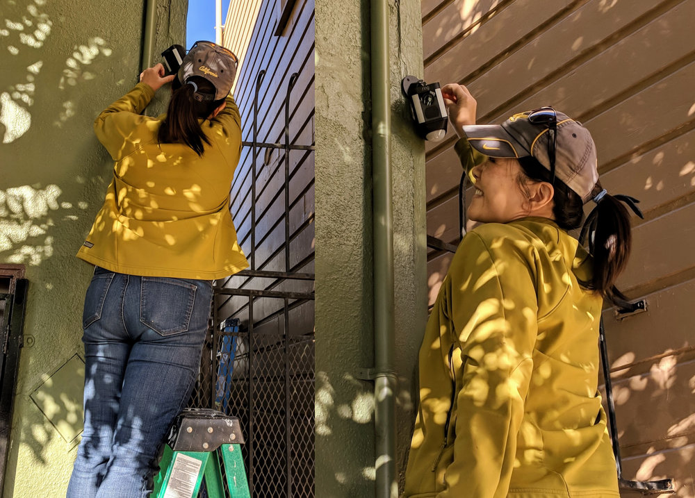 Stop Crime SF board member Nancy Tung installs a security camera on the home of a public school teacher concerned about criminal activity in her neighborhood.