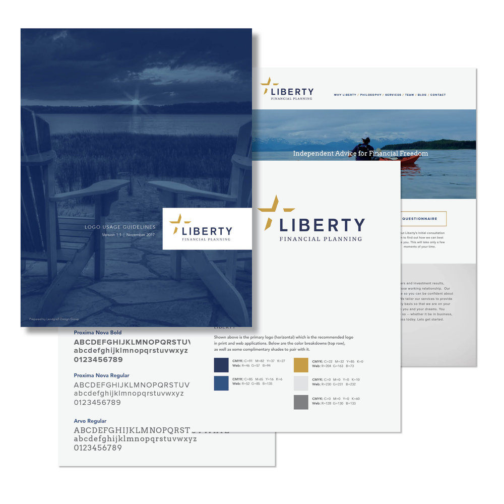 Liberty Financial Planning Brand Guidelines   We created corporate brand guidelines for Liberty Financial Planning in order to help them more consistently use their newly-designed brand in all client-facing materials. Their brand story included logo usage guidelines, their brand color palette, font guidelines, and examples of their new brand in use.