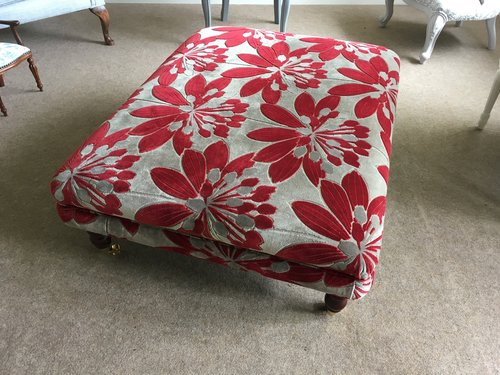Table footstool in red floral patterned chenille (currently on the web store)