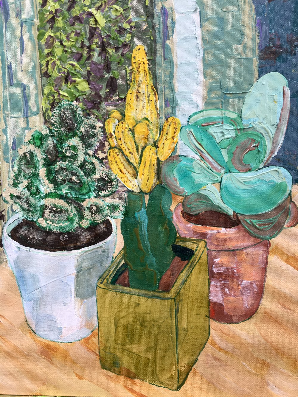 Succulents 2017, acrylic on board, 30x25cm (image), 38x32.5cm (framed). £450