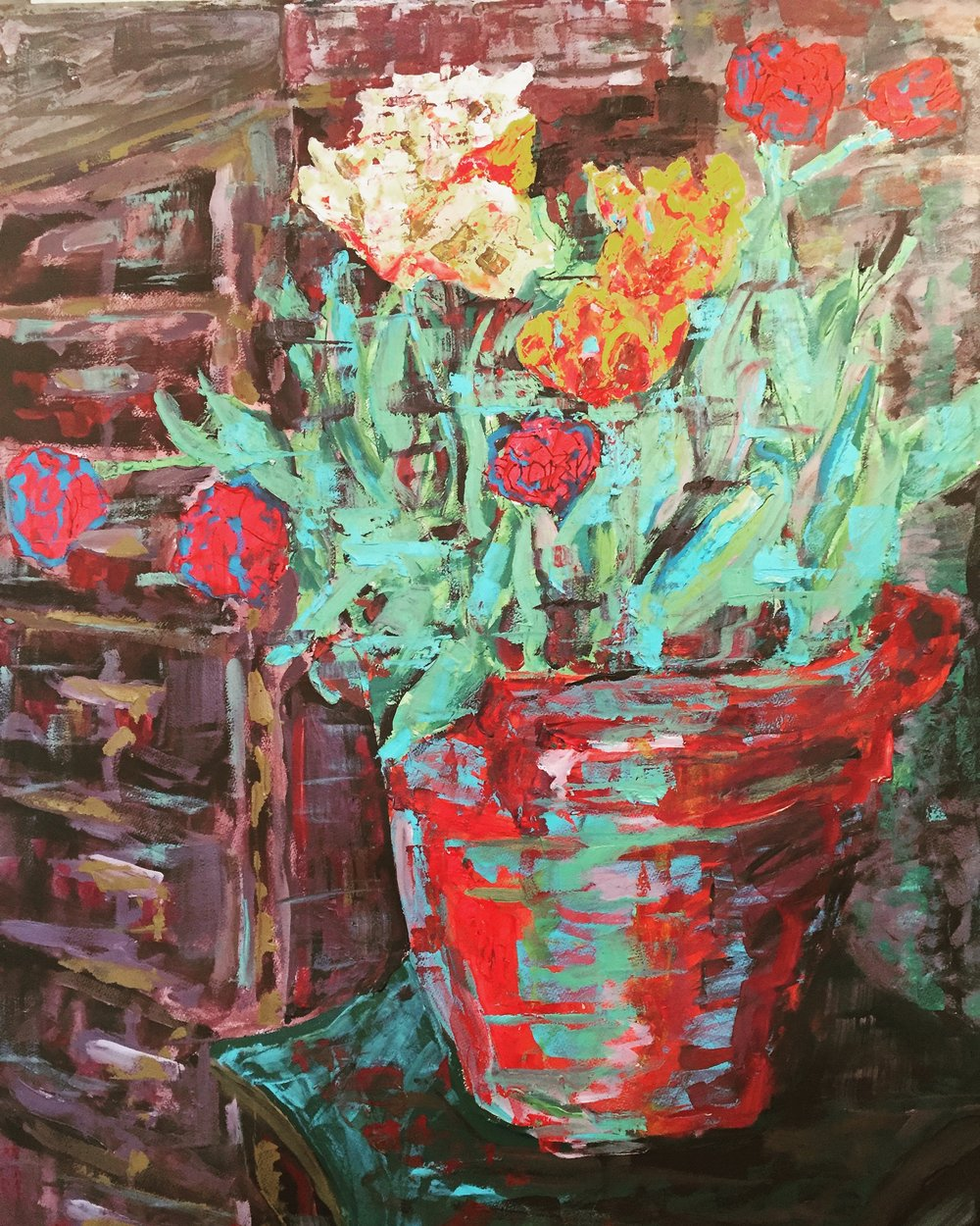 Still life flowers in red pot 2016, acrylic on paper, 118x89cm (image), 131x100cm (framed).