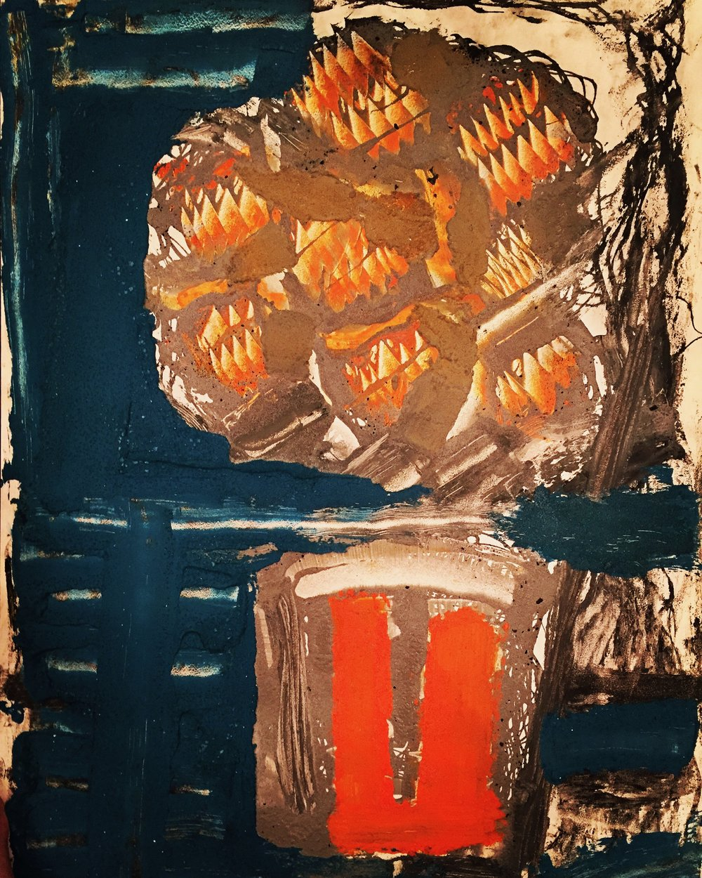 Orange flowers orange pot 2016, cement and pigment on panel, 79x61cm (image), 88.5x69.5cm (framed). (sold)