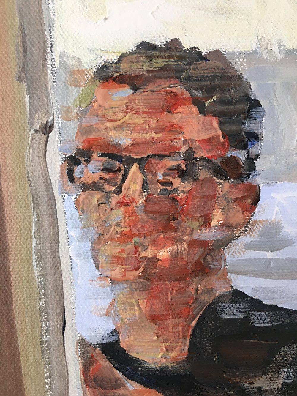 Studio selfie 2017, acrylic on canvas, 25x19cm. £350