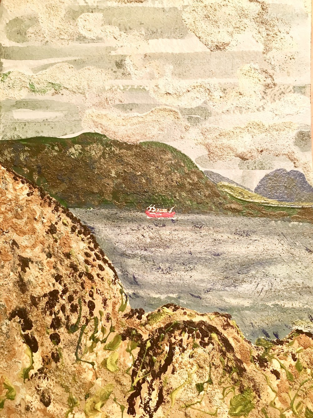 Post boat, Cleggan to Inishbofin, Co. Galway, mixed media on paper 26x18cm August 2018