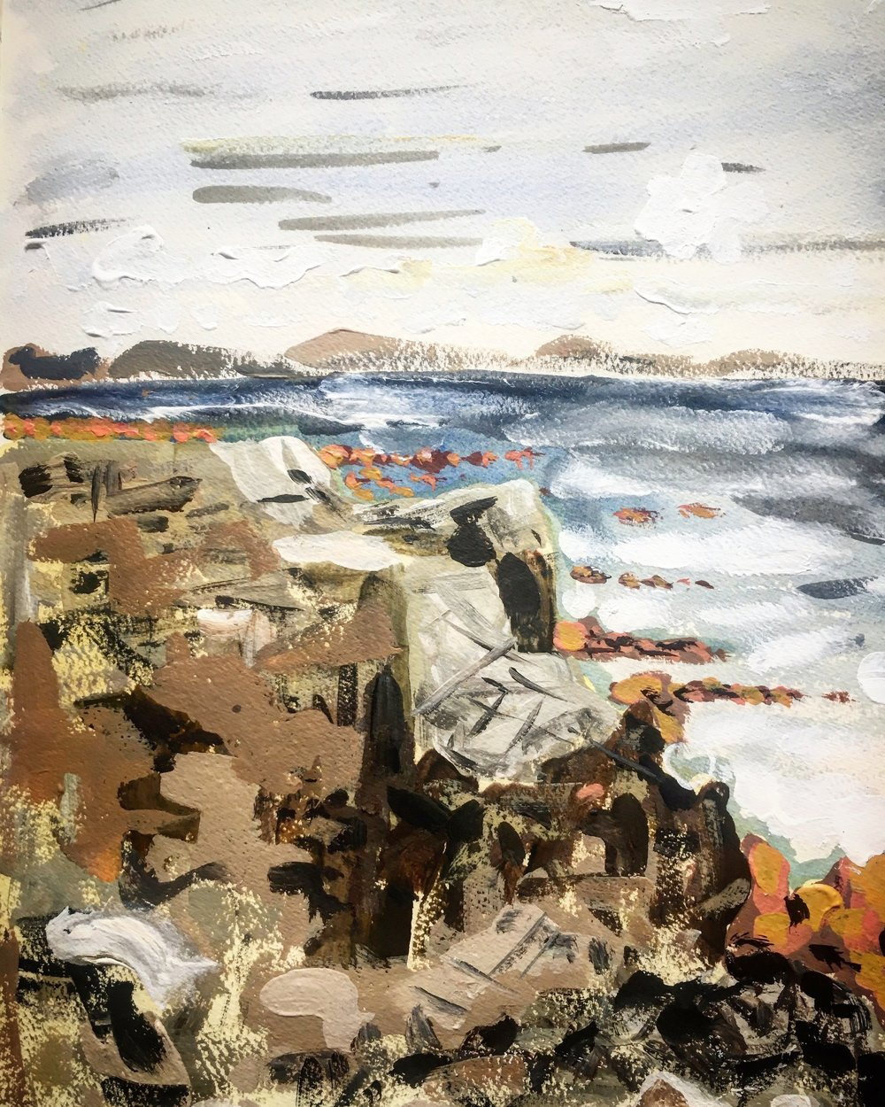 Rocks, Sea and wind, Rossadillisk Co. Galway, acrylic on paper 42x30cm August 2018