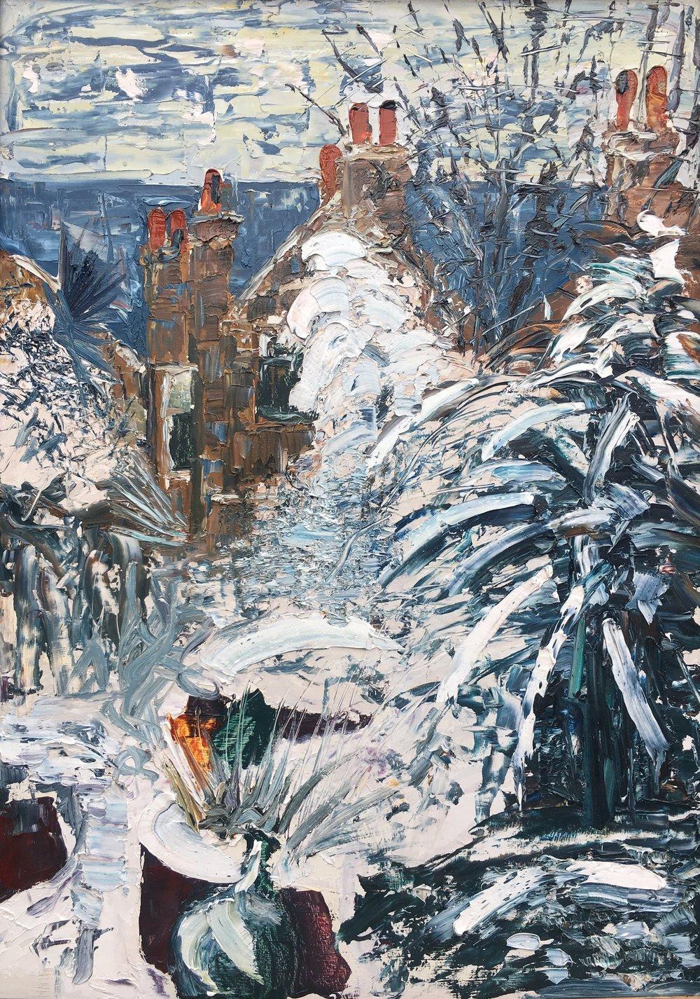 SW2 Garden in the snow, oil on board 98x70cm (framed)  2016 £1200