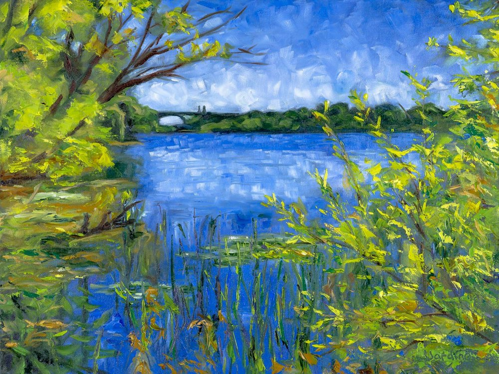 Cootes Paradise - View Towards the Desjardins Canal  18x24 inches, oil on canvas (sides ~0.75 inches deep, painted a loose extension of the scene)  $475 CAD   Enquire About Original