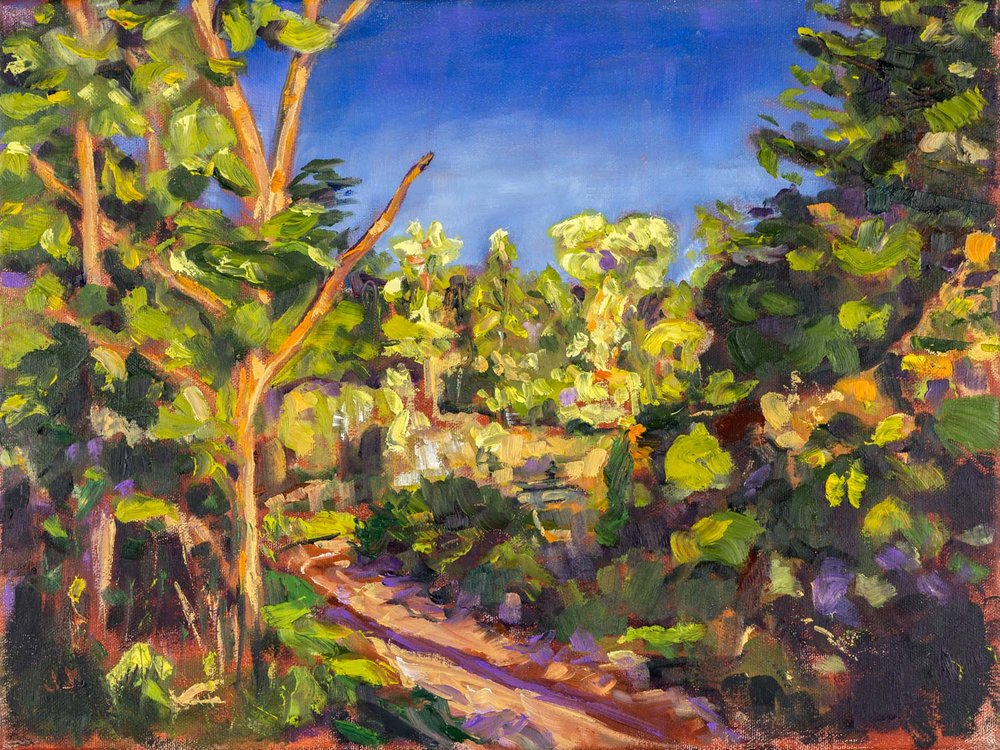 Creek Side Walk Trail  12x16 inches, oil on canvas (sides ~0.75 inches deep, painted a loose extension of the scene)  $390 CAD +hst   Enquire about original    Look at reproduction options