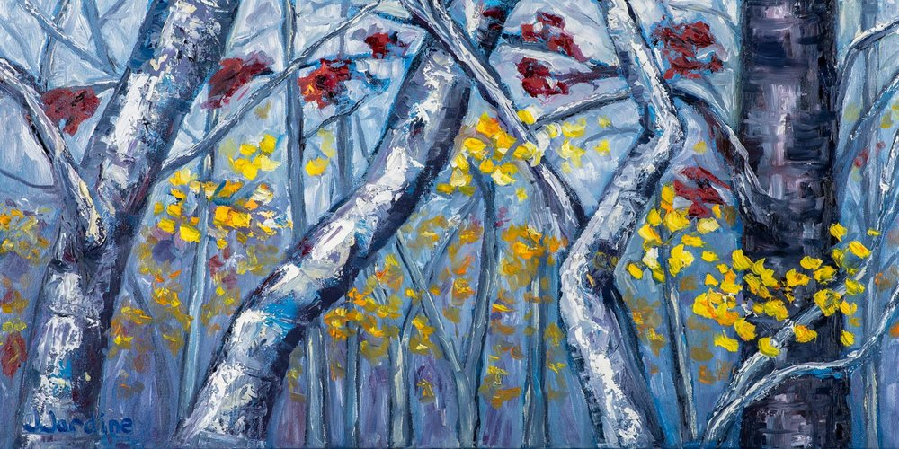 Early Winter Impressions  12x24 inches, oil on canvas (sides ~1.75 inches deep, painted a loose extension of the scene)  $395 CAD