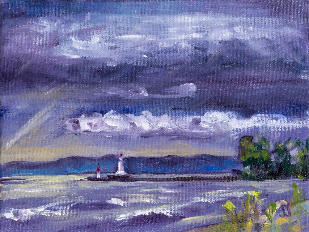 Moody Morning, Burlington Beach  6x8 inches, oil on canvas (sides ~0.75 inches deep, painted a loose extension of the scene)  $75 CAD