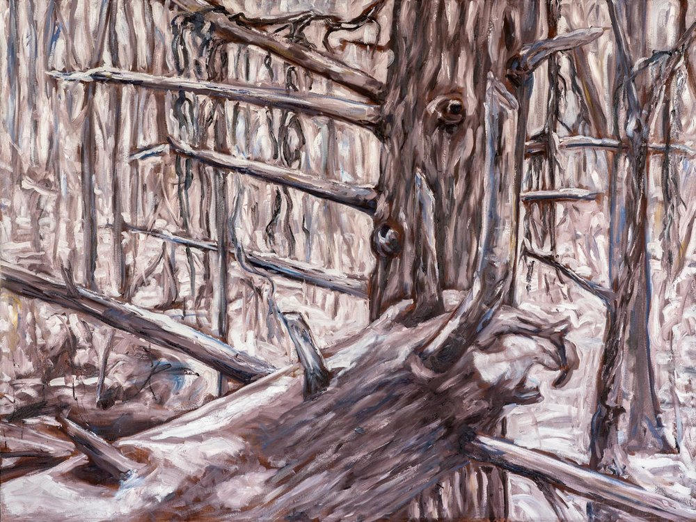 Spirit of the Winter Forest  36x48 inches, oil on canvas (sides ~1.75 inches deep, painted a loose extension of the scene)  $1260 CAD