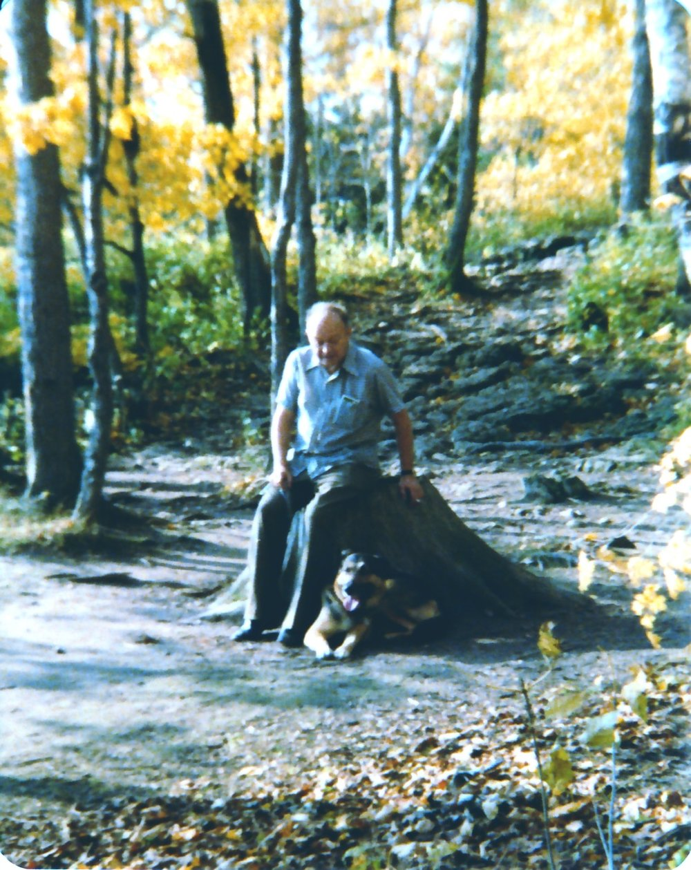 Dad back in the 1970s, having a smoke break [seemed a natural thing, then], sitting on a stump in the middle of the trail with Dru laying at his feet.