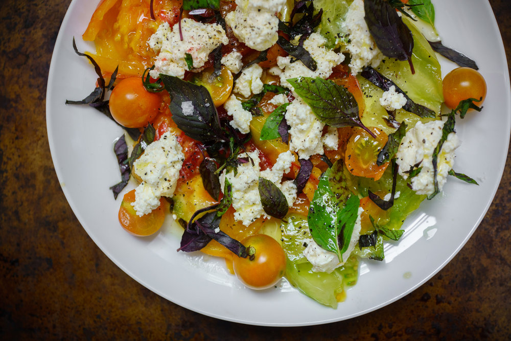 A Summer Heirloom Tomato Salad at home in Brooklyn
