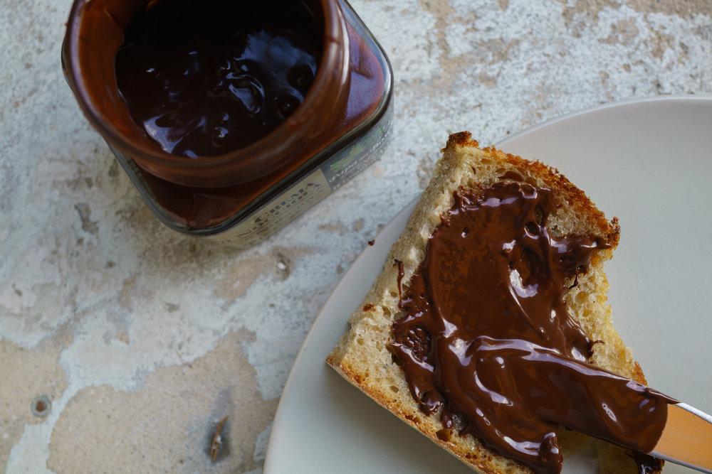 Crema di Nocciole  over sourdough as a  spuntino , or snack