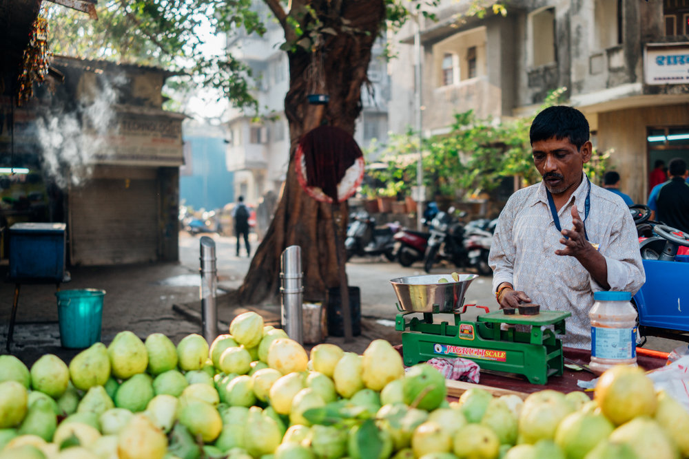 Guava vendor on the streets of Matunga in Bombay