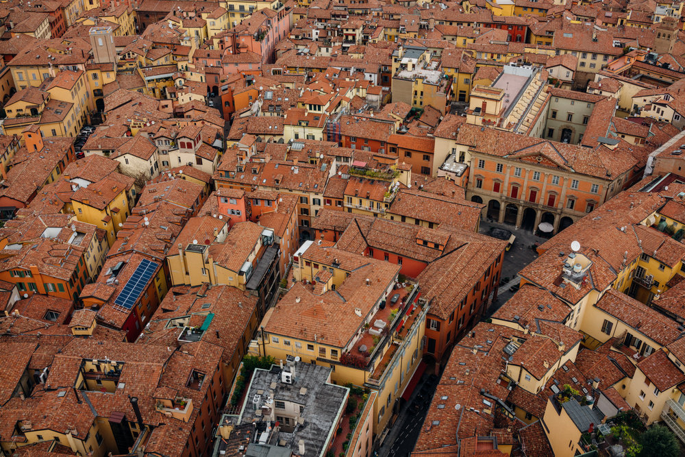 Orange rooftops of Bologna, Italy