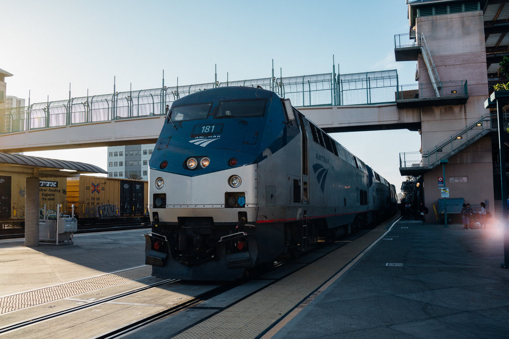 Antrak 5, the California Zephyr, arriving in Emeryville, California