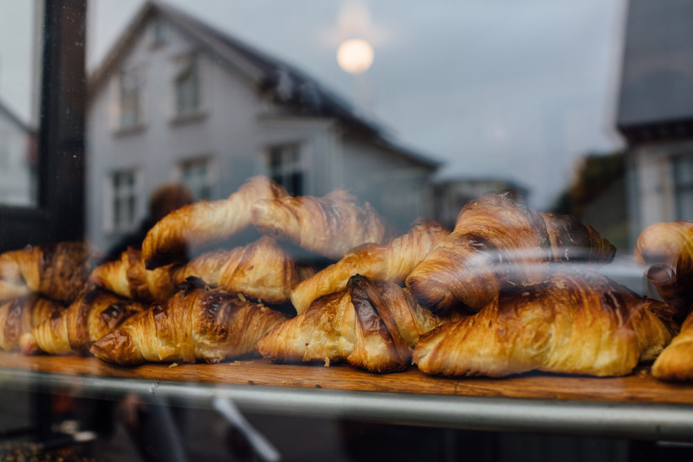 Croissants on display at Brauð & Co. in Reykjavík