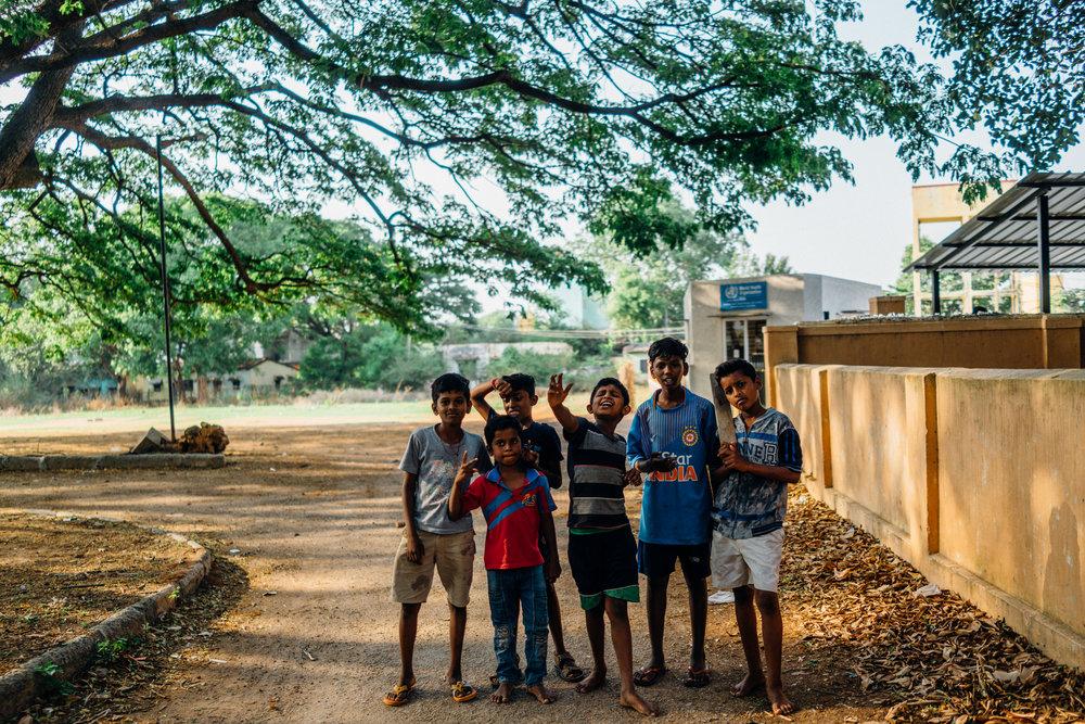 Kids under  Albizia saman  within the Epidemic Diseases Hospital, Bangalore
