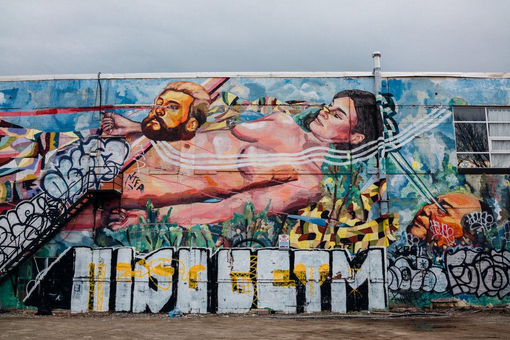 Mile End parking lot graffiti