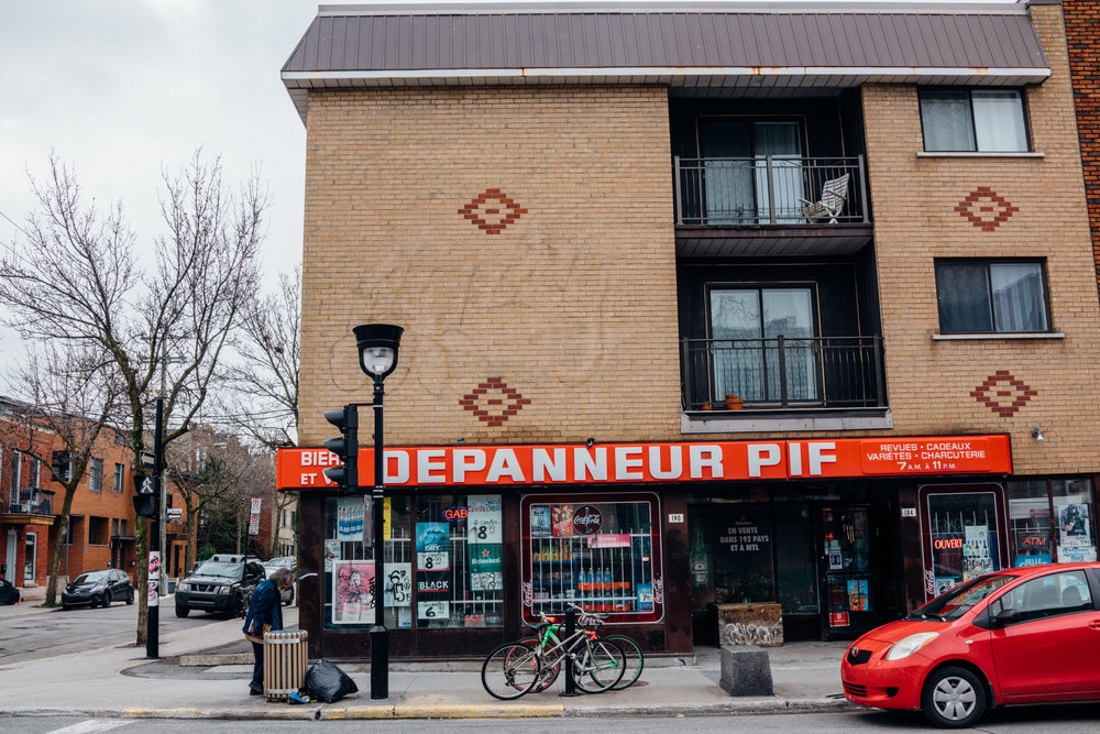 If you are looking for New York's  bodega  equivalent in Montréal, a  dépanneur  is what you want in francophone Canada