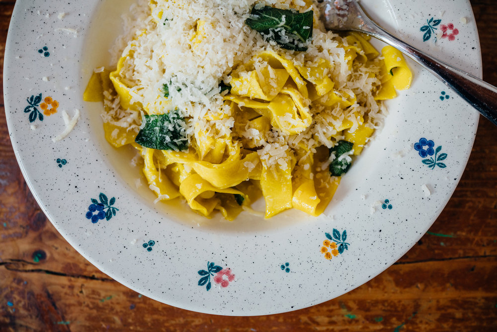 I made  Tagliatelle with Butter and Sage, with a generous draping of Parmesan  for lunch using the pasta we took home