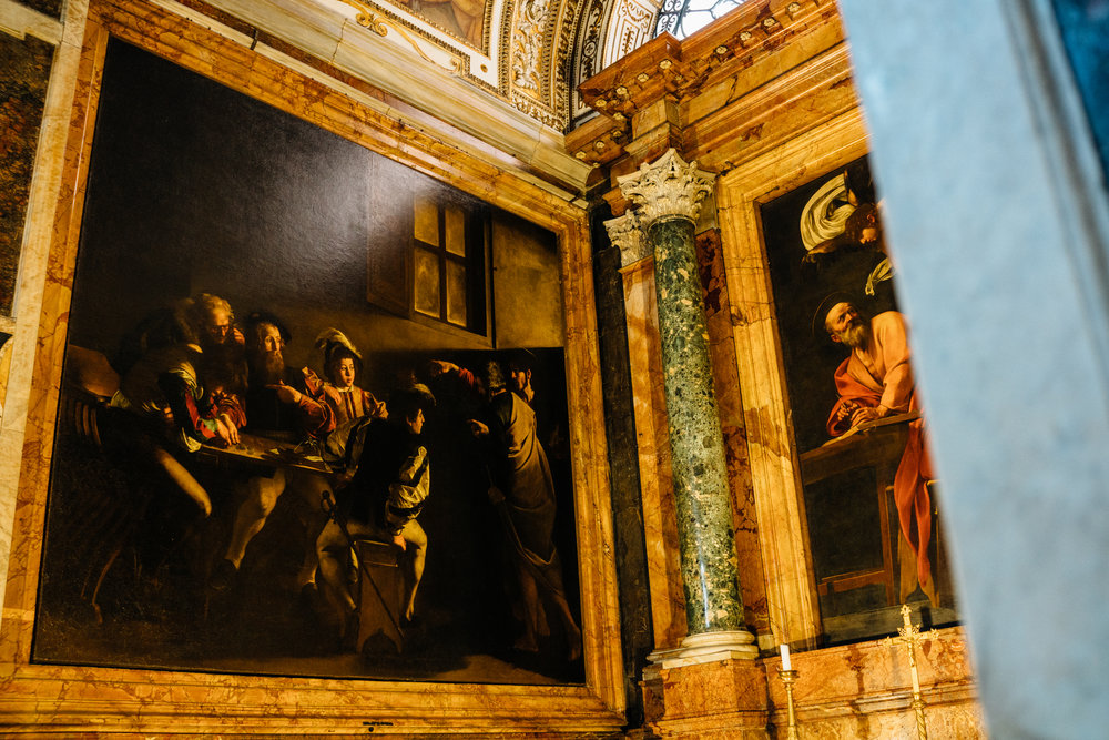 Caravaggio's  The Calling of St Matthew  in Cappella Contarelli. Did you just shed a tear?