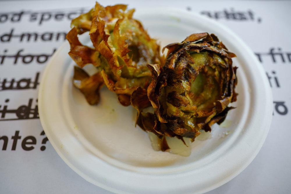 Crisp-fried artichokes at a stall at  Mercato Centrale  inside Roma Termini
