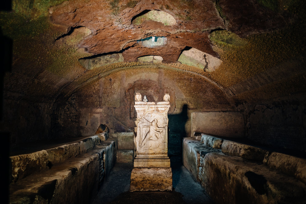 An altar of   Mithras  , from the 1st century AD temple buried under present-day   Basilica di San Clemente al Laterano