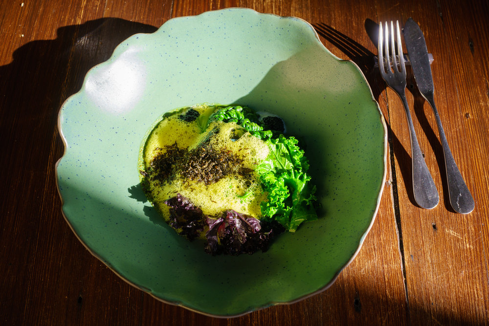 Black Scabbard Fish and Nori, Seasonal Cabbage, Madras Curry Butter, Radish, Herring Roe
