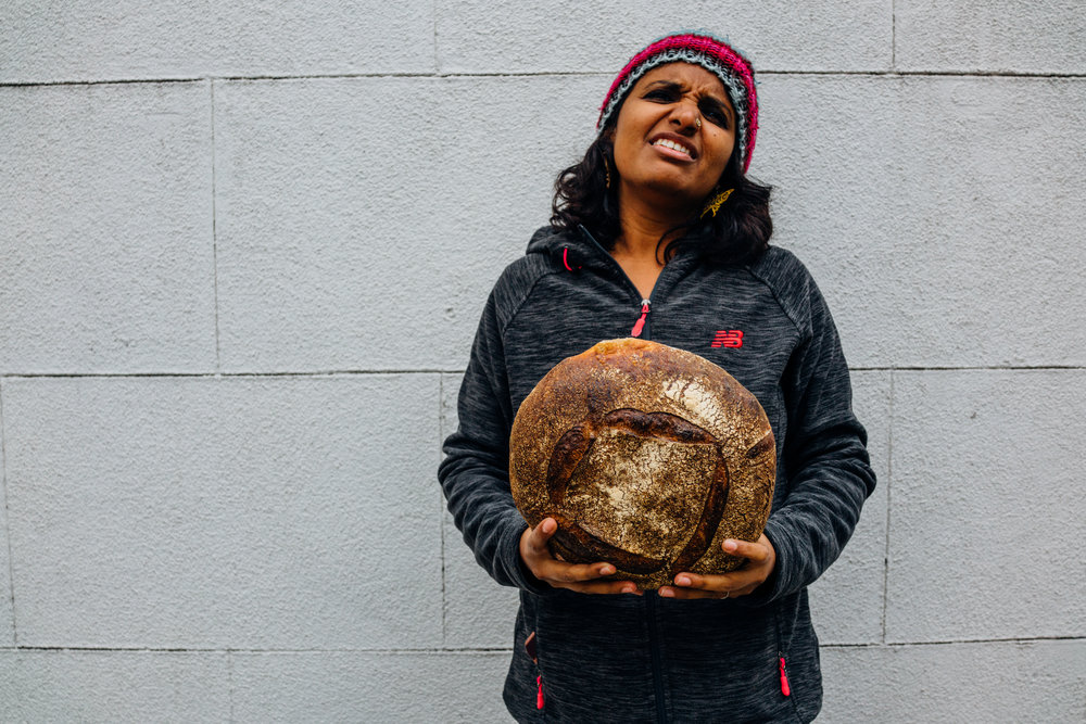 My friend Kavi with Tartine's Ancient Grain Einkorn