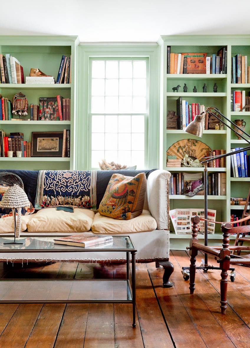rustic-connecticut-farmhouse-mint-green-library.jpg