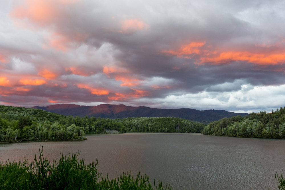 An incredible, post storm sunset view from our campsite in Waterbury, VT.