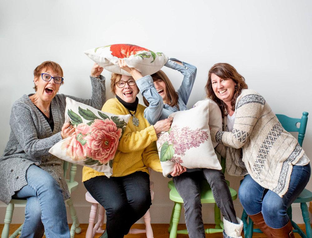 (From left to right: Jan (assistant photographer), Bette (owner of Golden Hill Studio), Rikki (photographer), Shelley (social media manager))