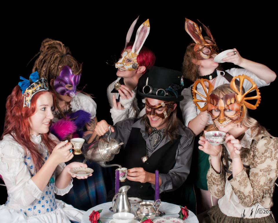 Mad Tea Party showing Steampunk Wonderland Masks, 2013. Photo by Dead Rose Studios..jpg