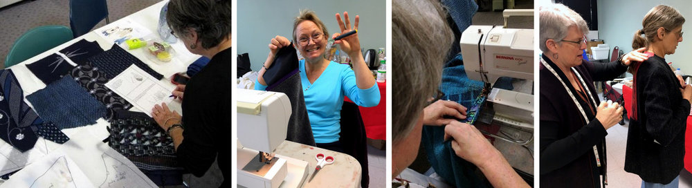 Scenes from SEWING YOUR HANDWOVEN FABRIC workshops.