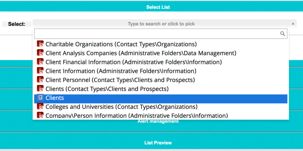 Select an existing list to edit from your favorite CRM or build a list from scratch.       When you're done editing an existing list, List Manager syncs it with your CRM!