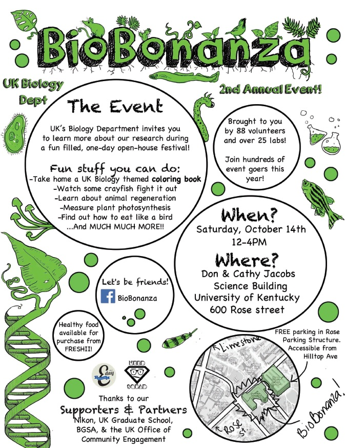 The flyer for the second edition of BioBonanza in 2017 (the last I organized).